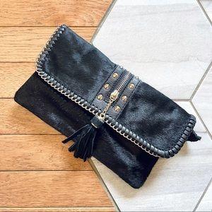 Sondra Roberts Black Leather/ Faux Calf Hair Bag